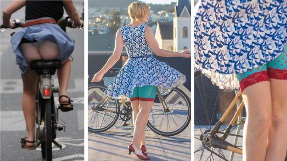 Девушка на велосипеде в короткой юбке фото 574-332
