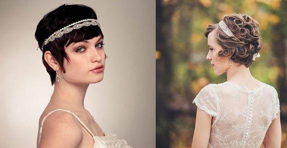 Прическа невесты на короткие волосы без фаты