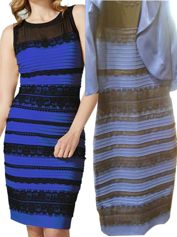 Сине чёрное или золотисто белое платье