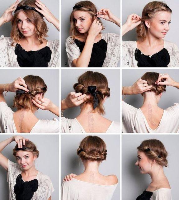 Как сделать прическу с повязкой греческой на короткие волосы