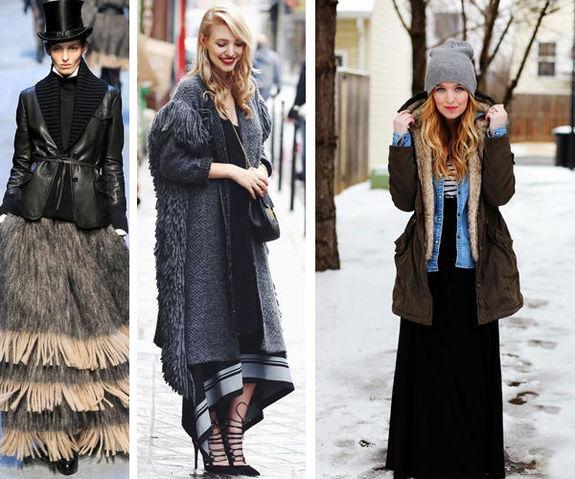 Как и с чем носить юбки макси зимой