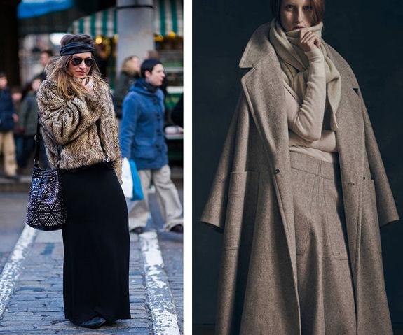 Верхняя одежда и длинная юбка зимой