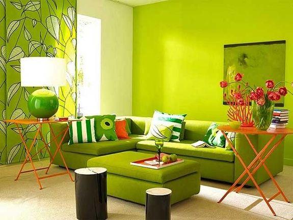 Сочетание цветов в интерьере зеленый и желтый
