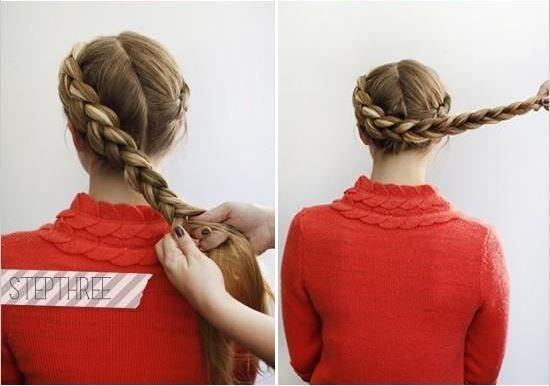 прическа коса на голове
