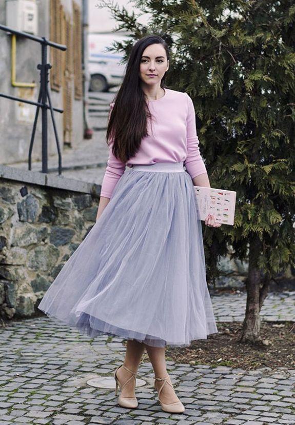 Пышная юбка с футболкой фото