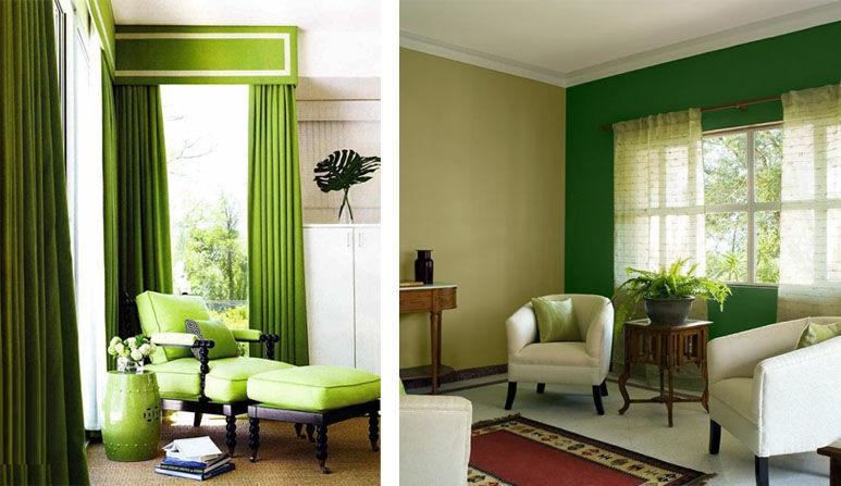 Покраска стен коричнево зеленый