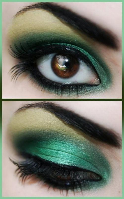 Макияж для зеленых глаз и зеленого наряда